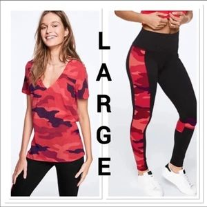 NWT VS PINK LARGE RED CAMO SET
